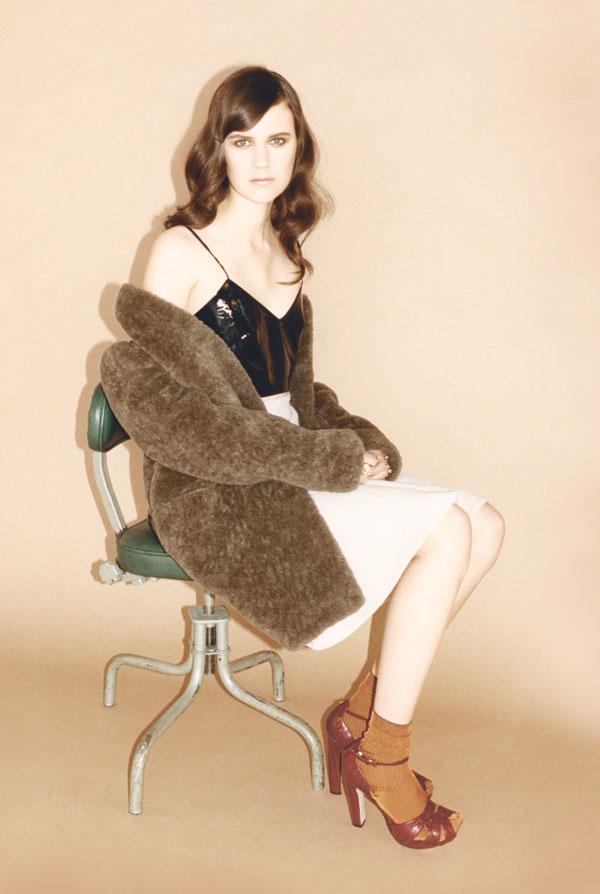 Furry coat, leather bralet, leather A-line skirt, slinky rib ankle socks