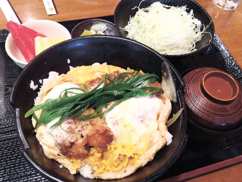 KATSU. Yabu's katsudon included delicious cutlets dipped in egg, covered with freshly made panko, Japanese rice, and smothered with special Yabu sauce and eggs.