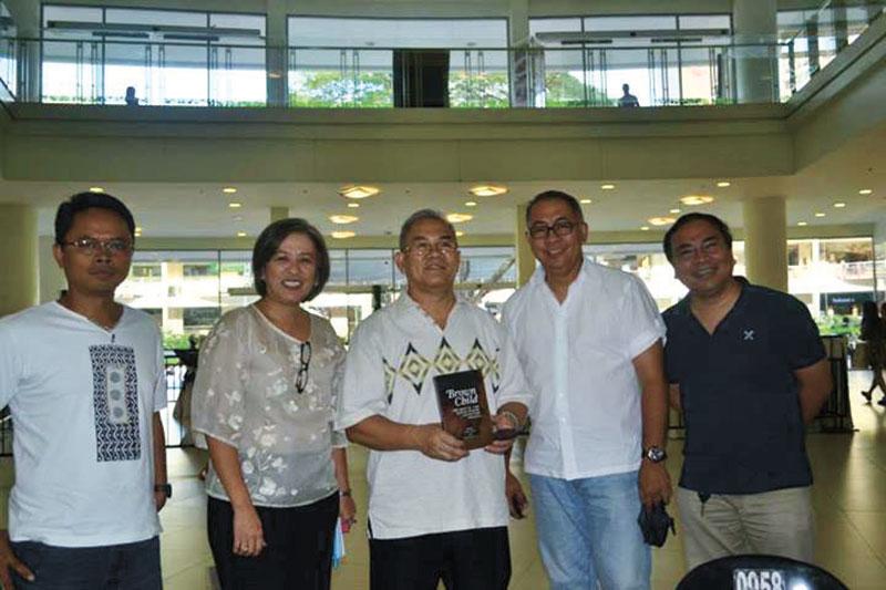 Fr. Sales, Hope Sabanpan-Yu, USC President Fr. Dionisio Miranda, Fr Generoso Rebayla, and USC Press manager Jobers Bersales