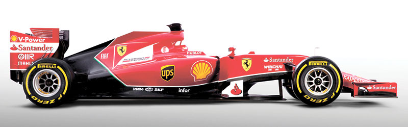 FAMILIAR RED. Ferrari unveiled its 2014 Formula One car Saturday in an online presentation, showing off a new paint job featuring a black outline of the familiar red coloring. (AP FOTO)