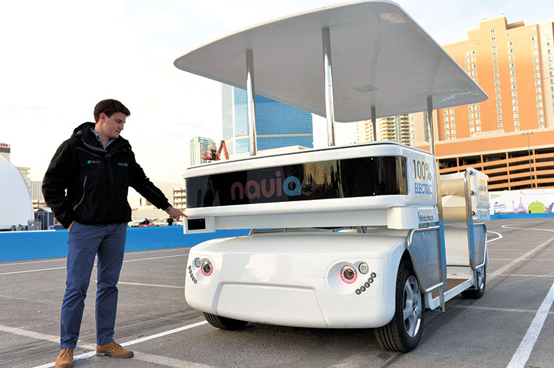 LASER-GUIDED. The new Navia driverless shuttle is equipped with a guidance laser at the front. The shuttle was on display at the International Consumer Electronics Show earlier this month in Las Vegas. (AP FOTO)