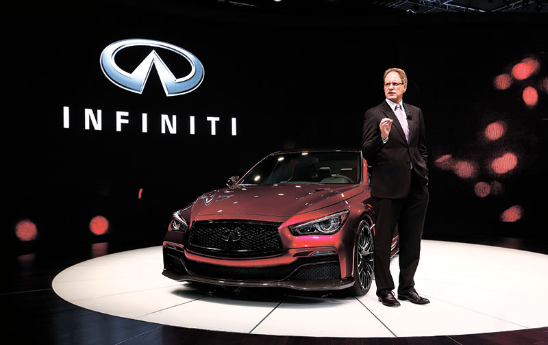 NEW INFINITI. Johan de Nysschen, president of Infiniti Motor Company Ltd., introduces the Infiniti Q50 Eau Rouge during media previews during the North American International Auto Show in Detroit. (AP FOTO)
