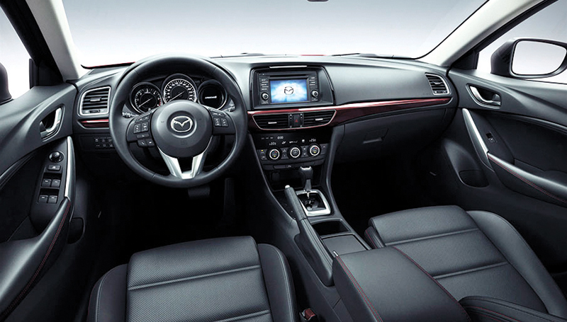 STRIKING INTERIORS. The Mazda 6 impresses with the sleek, well-designed interaiors crafted with high-grade materials. All these plus superb driving dynamics make the Mazda 6 a pleasure to drive.