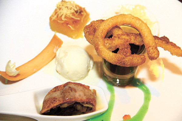 Langka Strudel with Vanilla Sauce, Casava cake, Churros with chocolate sauce, Buko with grated Cheddar Cheese, and Sampaguita ice cream