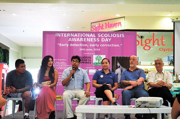 Guest speakers of the 2nd International Scoliosis Awareness Day: Arnold Balais, Dionne Monsanto, Dr. Ajay Yadav, Rose Marie Arriola-Shun, Marlon Brandt, and Robert Misa