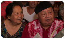 FILIPINO writer F. Sionil Jose (center) with wife Tessie (left) during the first staging of Progress in 2011.