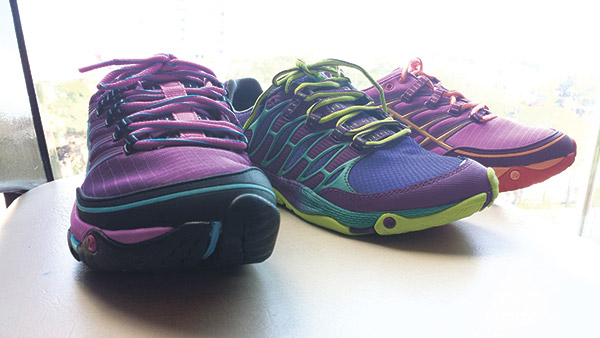 NEW SHOES. Three of Merrell's newest releases, all built with the same serious approach to design and product innovation that has been a trademark of the brand: Women's AllOut Rush (left and right) Blue and Men's AllOut Fuse (center).