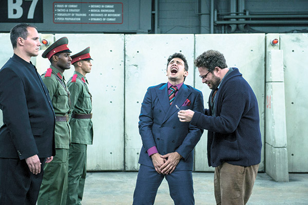"BACK IN BUSINESS. A scene from ""The Interview"" shows James Franco (center) as Dave, and Seth Rogen (right) as Aaron. After initially getting pulled out from movie theaters over threats of terrorist attacks, Sony Pictures Entertainment's ""The Interview"" was released in limited theaters in the United States last Christmas. (AP FOTO)"