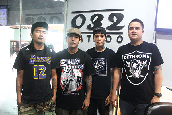 DIFFERENT STROKES. 032 Tattoo artists (from left) Jayland Remoriras, Jeffrey Altamira, Alex Cabrijas and Chow Abinales.
