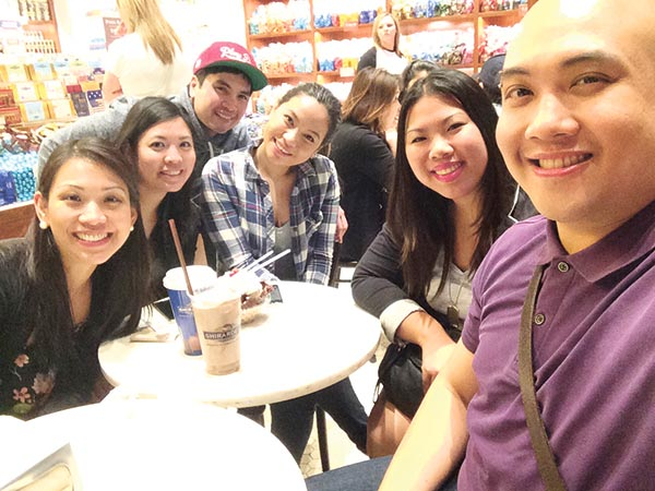 (From left) With Marissa Yap San-Agustin and May Yap De Leon (my sisters), Miguel Madera and Niña Madera (siblings), and my sister Kovy Yap. Taken at Ghirardelli at the Linq Promenade.