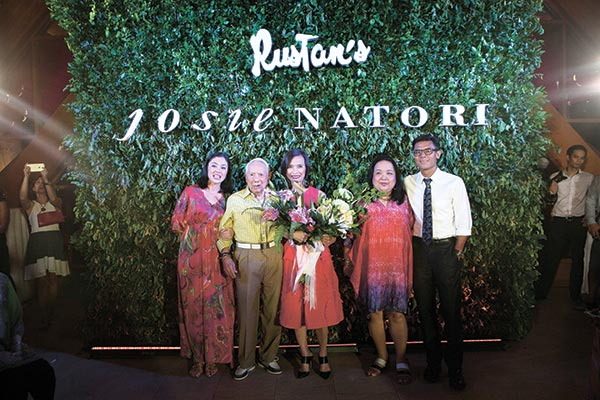 Rustan's Marketing Communications Manager Dina Tantoco, Rustan Group of Companies Chairman Emeritus Ambassador Bienvenido Tantoco Sr., Josie Natori, Rustan's VP for Home Merchandising Marilen Tantoco, and Rustan's President Donnie Tantoco