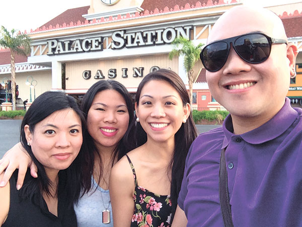 With sisters May, Kovy, Marissa outside the Palace Station Casino where the famous Oyster Bar is located