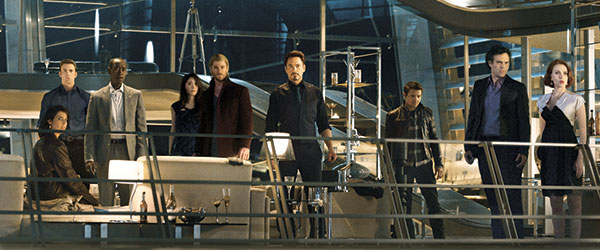 """(From left) Cobie Smulders (seated), Chris Evans, Don Cheadle, Claudia Kim, Chris Hemsworth, Robert Downey Jr., Jeremy Renner, Mark Ruffalo and Scarlett Johansson in the film, """"Avengers: Age Of Ultron."""""""
