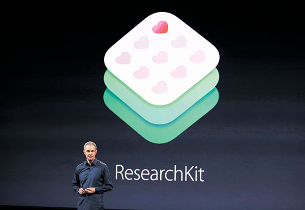 MORE MED APPS. Apple recently launched ResearchKit for scientists to create more specialized apps for medical studies. ResearchKit had been limited to five pilot groups until now. (AP FOTO)