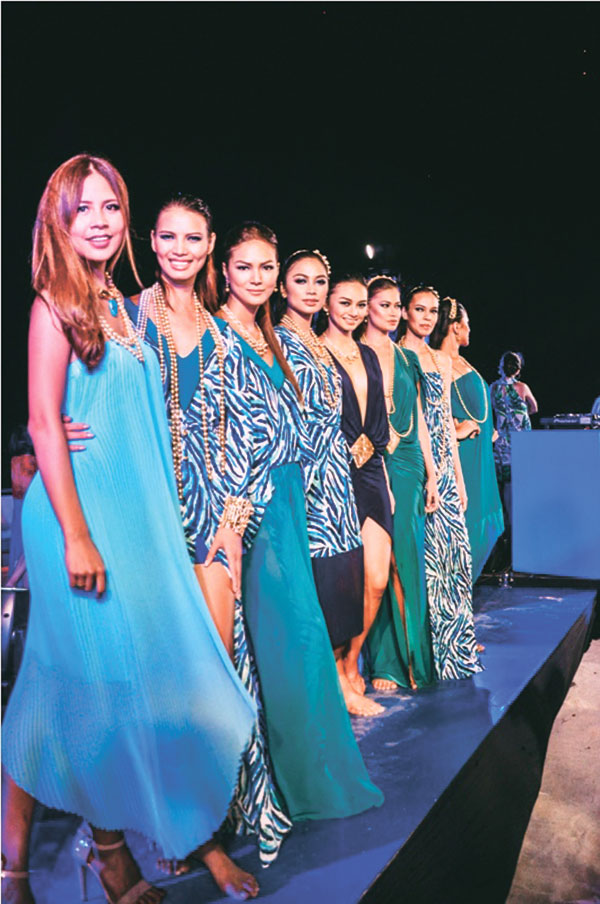 Mia Arcenas and her models wearing the Azure Collection
