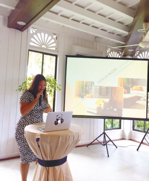 """Holly Dawn Dychangco, CEO of Chrome Architecture and Interior Design Studio, gives a piece of her mind during her talk """"Design Rules"""" at 32 Sanson by Rockwell. (CONTRIBUTED FOTO)"""
