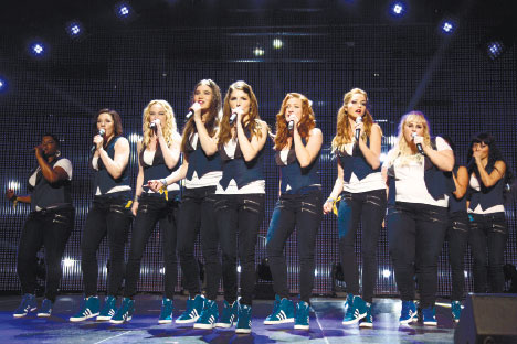 "A SCENE from the film, ""Pitch Perfect 2"" (from left): Ester Dean as Cynthia Rose, Shelley Regner as Ashley, Kelley Alice Jakle as Jessica, Hailee Steinfeld as Emily, Anna Kendrick as Beca, Brittany Snow as Chloe, Alexis Knapp as Stacie, Rebel Wilson as Fat Amy, and Hana Mae Lee as Lilly Anna Kendrick as Beca, as the Barden Bellas. (AP FOTO)"