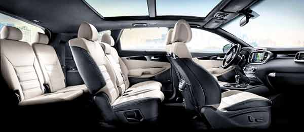INTERIOR LUXURY. Inside the Sorento, one finds comfort and luxury of the highest standards, beginning with the finely crafted seats. The seven-passenger models allow the second-row seat to auto-fold and slide to let occupants in the rear to move in and out, while the third row seat splits and folds 50:50. And if natural light is your thing, the EX option offers a dual-pane Panorama sunroof.