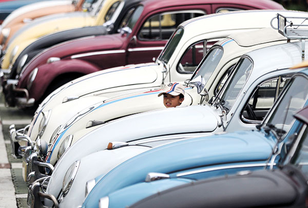 THE BEETLES. A row of vintage Volkswagen Beetle cars on display during a World Volkswagen Day celebration last June 21 in Manila. In Cebu and in other parts of the country, there has been a surge in demand for vintage cars of late. One of the more sought after cars are aircooled VWs like the Beetle. (AP FOTO)