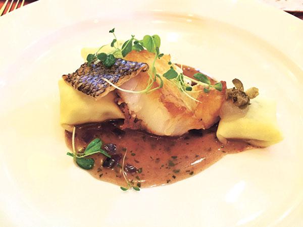 Chilean Sea-bass, Tapenade Sauce, Salt Cod Pasta Pillows