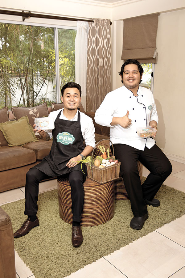 "BOX BOYS. The foodie tandem of Bibo Moreno and Chime Bosabel turned a ""healthy pasalubong"" into an online food store that caters to health and diet enthusiasts, and called it ""Diet in a Box."""