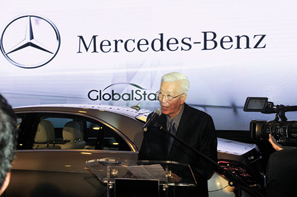 """WARM WELCOME. Ambassador Francisco L. Benedicto, Chairman of the Board of Global Star Motors, said the opening of the Global Star Cebu dealership is a testament of the company's """"unwavering support to the local economy, further fueling its growth and progress as we carry world-class brands to the heart of Cebu and into the homes of the movers and shakers of our beloved region."""" ((SUN.STAR PHOTO/ARNI ACLAO)"""