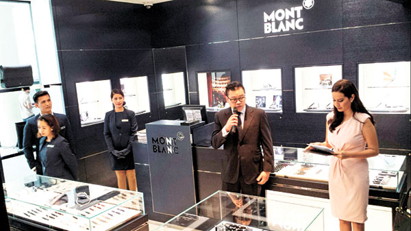 MONTBLANC. Nathanael Tan, Senior Sales Manager of Montblanc Singapore, talks about the German luxury brand's wide array of writing instruments, watches, leather goods, and fine jewelry on display on the first floor of Rustan's Cebu outlet, the first Montblanc store outside of Metro Manila. Founded in 1906 and named after the highest mountain in the alps, Montblanc translates to White Mountain.
