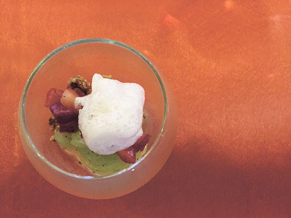 Whiskey Sorbet, Honey Toasted Oats and Berries, Strawberry Foam