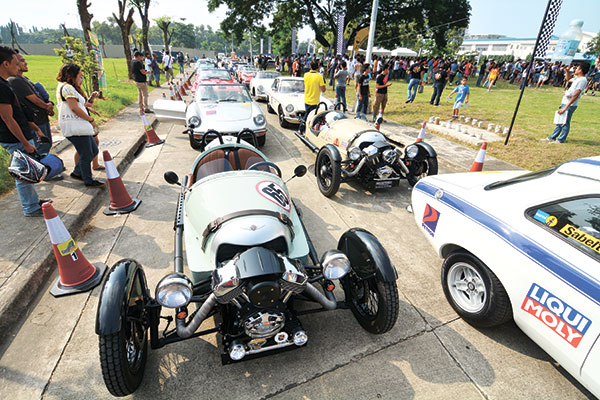 READY TO ROLL.  A Morgan three-weeler lines up ahead of other classic cars for the second Tour de Cebu.