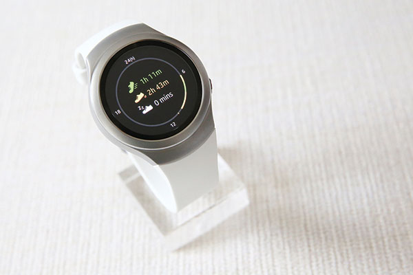 RUNNING APP. A personal fitness application is shown running on Samsung's Gear S2 smartwatch during a presentation in New York. Samsung's new smartwatch will begin selling earlier this month in the US starting at $300. (AP PHOTO)