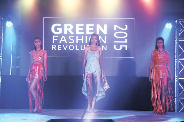 FIRST TIME. Students from University of San Jose Recoletos (USJR), a first time contender, strut their collection at the Green Fashion Revolution. USJ-R won third runner up in the competition.