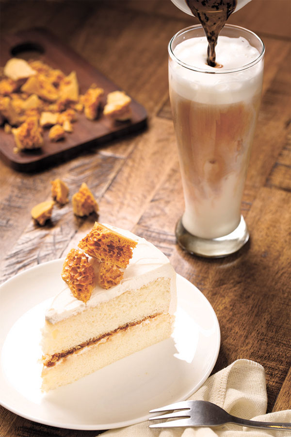 Honey Toffee Crunch Cake and Iced Latte