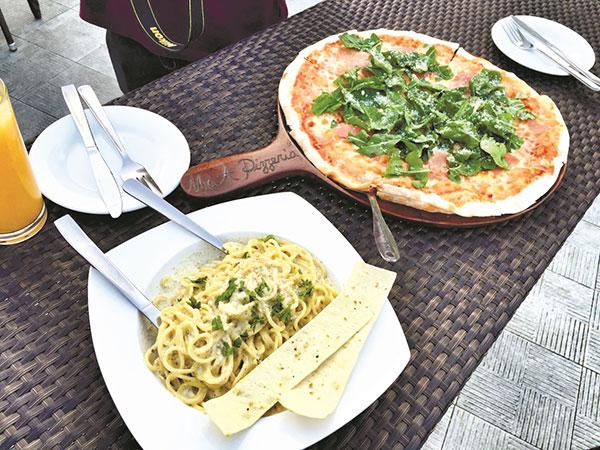 Spaghetti Al Tartuffo and Proscuitto-Arugula Pizza from Mr. A Pizzeria