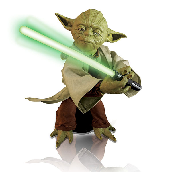 "YODA POSE IT IS. This is a 16-inch Legendary Yoda toy that boasts lifelike movements and voice recognition. But if you want to pose for photos with Yoda, the ""Star Wars"" app should do the trick. (AP PHOTO)"