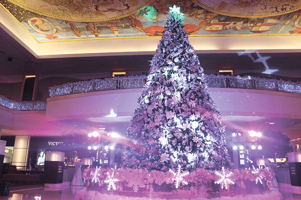 Christmas tree adorned with crystals