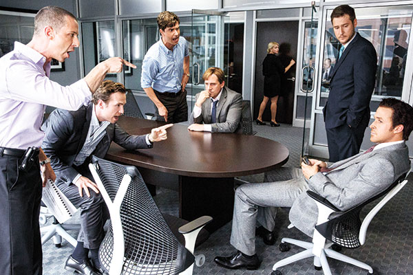 """(From left) Jeremy Strong as Vinny Peters, Rafe Spall as Danny Moses, Hamish Linklater as Porter Collins, Steve Carell as Mark Baum, Jeffry Griffin as Chris, and Ryan Gosling as Jared Vennett, in the film, """"The Big Short,"""" from Paramount Pictures and Regency Enterprises. (AP PHOTO)"""