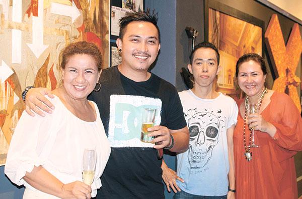 Annette Almario, Darby Alcoseba, Mark Belicario, and Qube Gallery owner Maris Holopainen