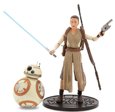 "Rey (right) and BB-8 Elite Series Die Cast Action Figures from ""Star Wars: The Force Awakens"" by Disney Store."