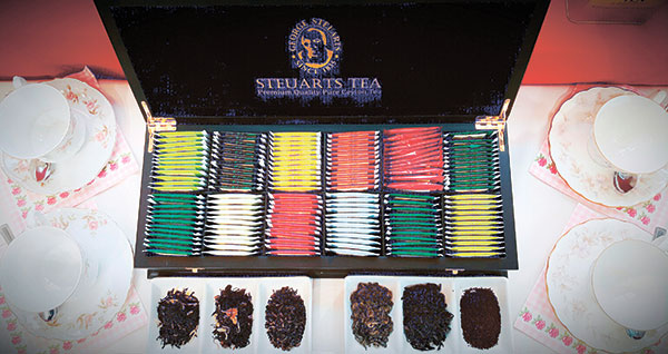 Steuarts Tea Selections come in fruity flavors such as Strawberry, Lemon, Apple Strawberry Raspberry Cranberry, or scented like Peppermint, Camomile, Green Tea Jasmine, and Black Tea Jasmine, and the more familiar Earl Grey, Pure Green Tea and Premium Ceylon Black Tea.