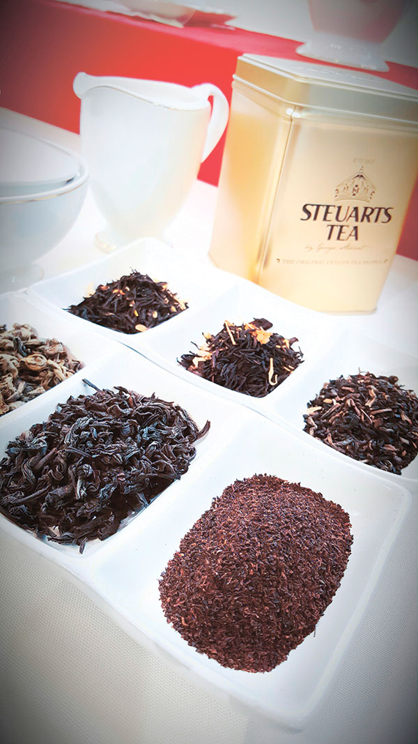 Dried tea leaves from Steuarts Tea, which is sourced from tea cultivated and harvested in the vast highlands of Sri Lanka.