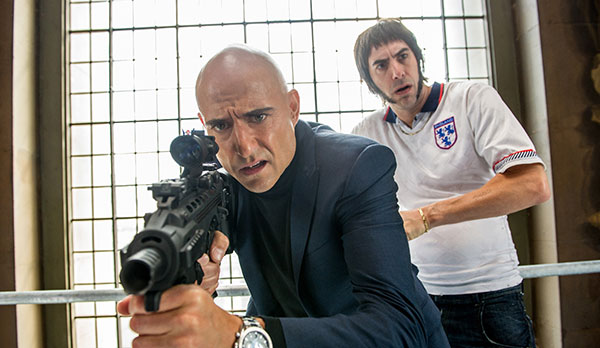 "This image released by Sony Pictures shows Sacha Baron Cohen, right, and Mark Strong in Columbia Pictures' ""The Brothers Grimsby."" (AP PHOTO)"