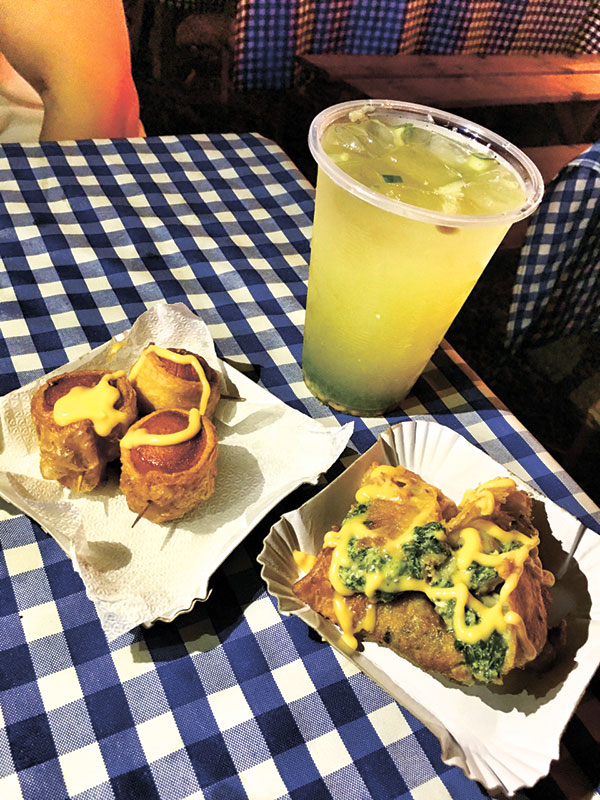 Puff and Pasta — Try their Pigs in a Blanket, Bacon and Chix in Spinach Cream (my favorite!), and Choco Puff (not in photo). Their signature Lemon Grass Cucumber drink is the best!