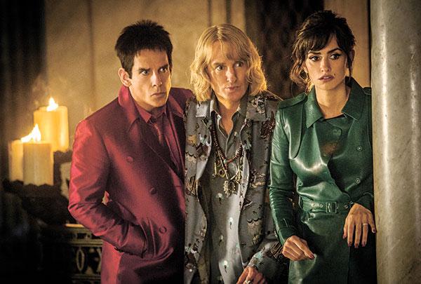 "Ben Stiller portrays Derek Zoolander, from left, Owen Wilson portrays Hansel and Penelope Cruz portrays Valentina Valencia in a scene from, ""Zoolander 2."" (AP PHOTO)"
