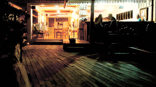 The restobar makes for a romantic dimly lit setting at night.