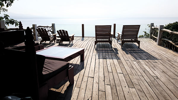 Relaxing terrace facing the protected seascape of Tañon Strait and Negros Island.
