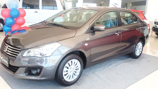 The 2016 Suzuki Ciaz, on display at the Suzuki Auto South Cebu showroom at the SRP in Mambaling, Cebu City, is the largest B-Segment sedan in the market today. (CONTRIBUTED PHOTO)