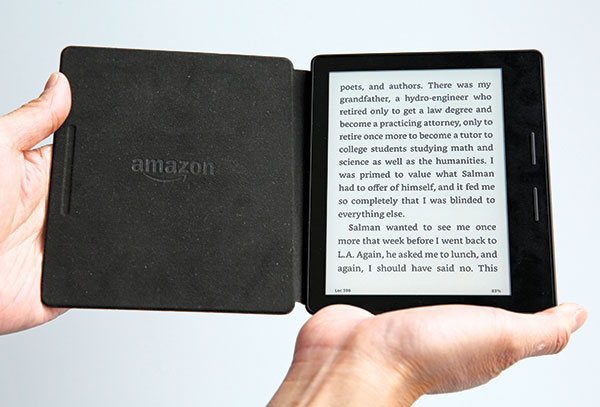 KINDLE OASIS. Amazon's Kindle Oasis is meant to be a luxury e-book reader, and is the company's sleekest, lightest e-book reader yet. (AP PHOTO)