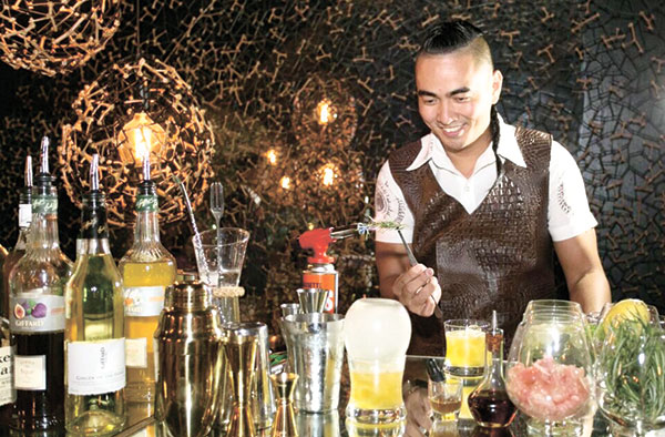 Liquido Maestro Chef Kalel Demetrio, mixologist, the creator of the craft beverages at Morals and Malice