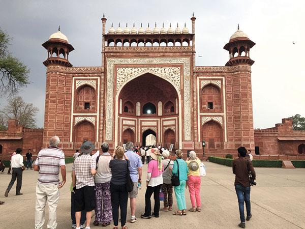 The entrance gate to the Taj Mahal.