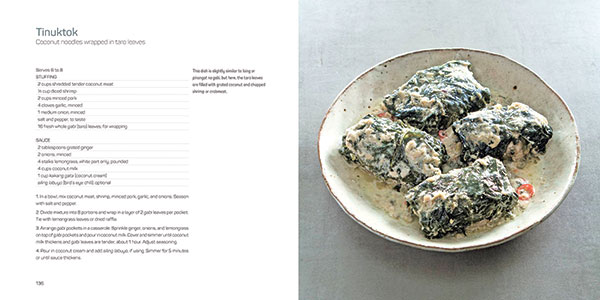 Tinuktok, or coconut noodles wrapped in taro leaves: one of the many recipes featured in Chef Tatung's new book